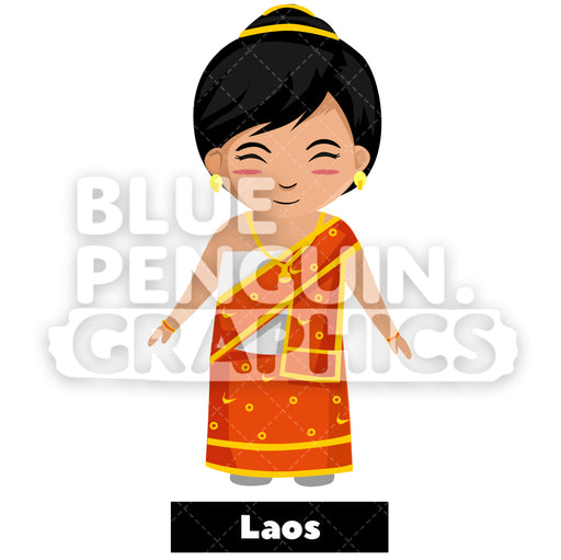 Cute Girl with Traditional Costume from Laos Vector Cartoon Clipart Illustration - Blue Penguin Graphics