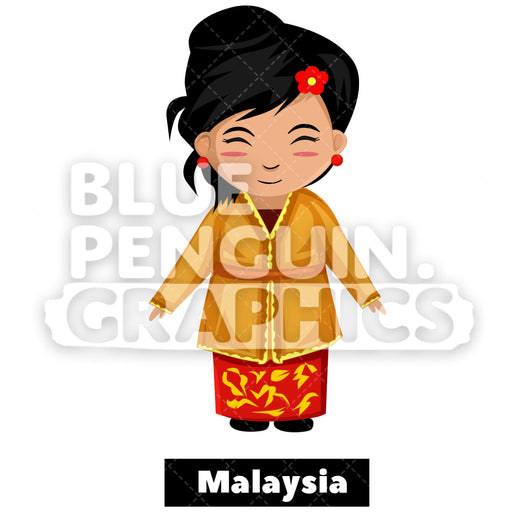 Cute Girl with Traditional Costume from Malaysia Vector Cartoon Clipart Illustration - Blue Penguin Graphics