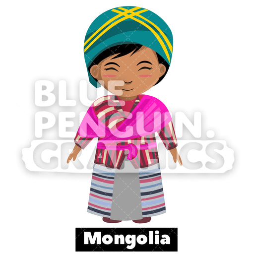 Cute Girl with Traditional Costume from Mongolia Vector Cartoon Clipart - Blue Penguin Graphics
