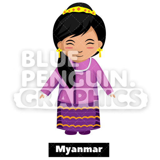 Cute Girl with Traditional Costume from Myanmar Vector Cartoon Clipart Illustration - Blue Penguin Graphics