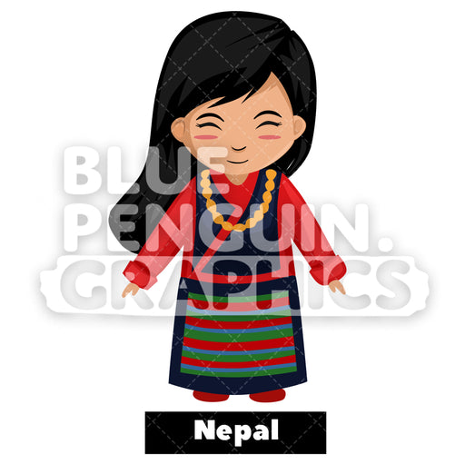 Cute Girl with Traditional Costume from Nepal Vector Cartoon Clipart Illustration - Blue Penguin Graphics