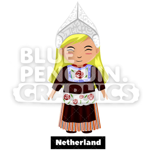 Cute Girl with Traditional Costume from Netherlands Vector Cartoon Clipart - Blue Penguin Graphics