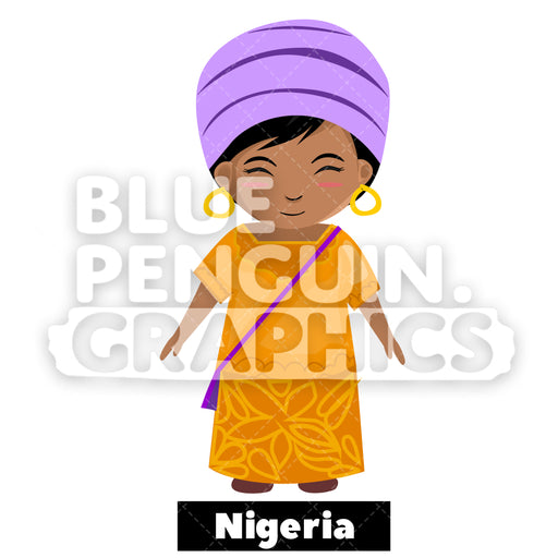 Cute Girl with Traditional Costume from Nigeria Vector Cartoon Clipart - Blue Penguin Graphics