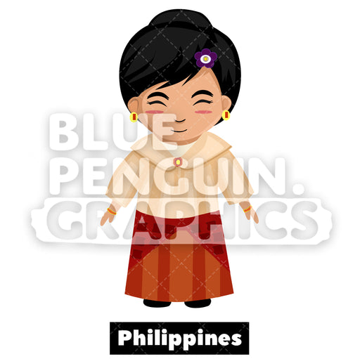 Cute Girl with Traditional Costume from Philippines Vector Cartoon Clipart Illustration - Blue Penguin Graphics
