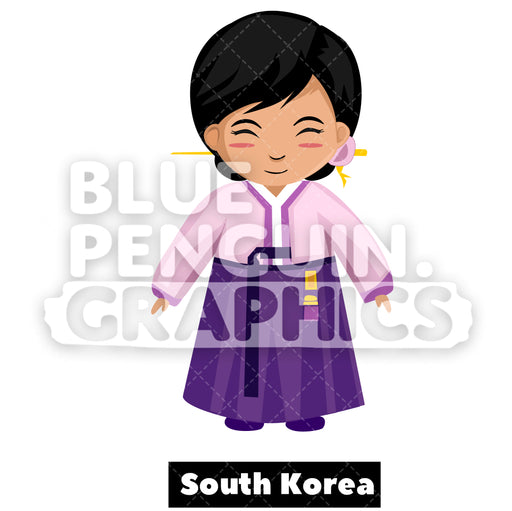 Cute Girl with Traditional Costume from South Korea Vector Cartoon Clipart Illustration - Blue Penguin Graphics