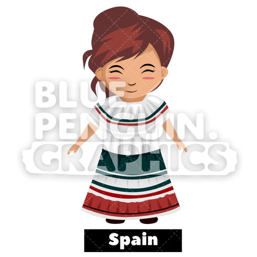 Cute Girl with Traditional Costume from Spain Vector Cartoon Clipart - Blue Penguin Graphics