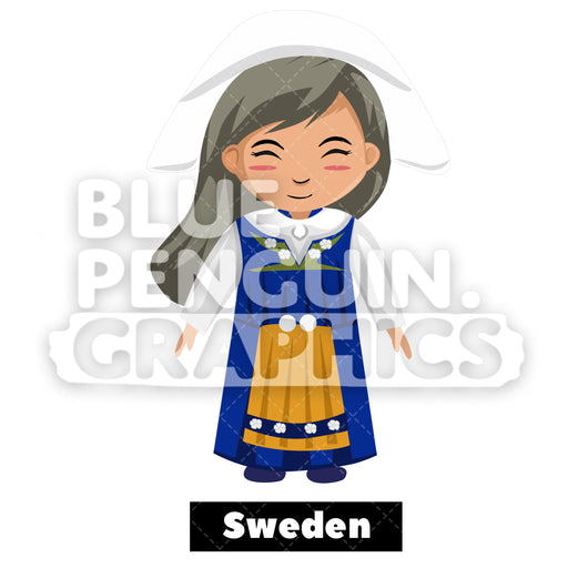 Cute Girl with Traditional Costume from Sweden Vector Cartoon Clipart - Blue Penguin Graphics
