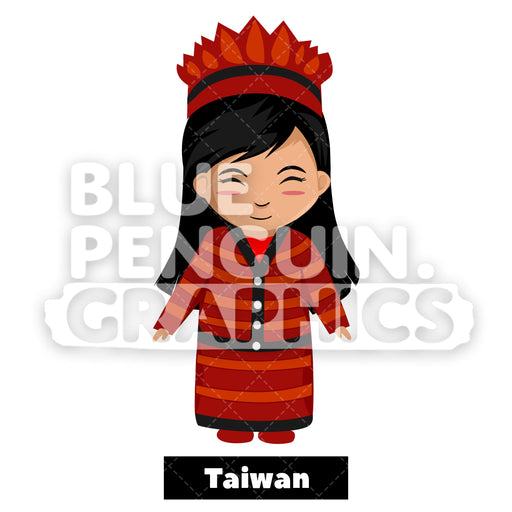 Cute Girl with Traditional Costume from Taiwan Vector Cartoon Clipart Illustration - Blue Penguin Graphics