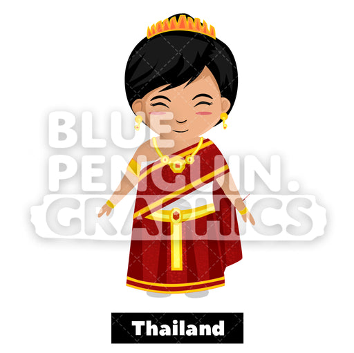 Cute Girl with Traditional Costume from Thailand Vector Cartoon Clipart Illustration - Blue Penguin Graphics