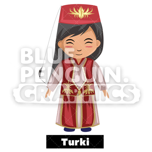 Cute Girl with Traditional Costume from Turkey Vector Cartoon Clipart - Blue Penguin Graphics