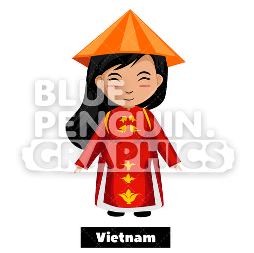 Cute Girl with Traditional Costume from Vietnam Vector Cartoon Clipart Illustration - Blue Penguin Graphics