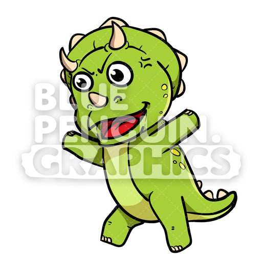 Cute Green Dino Angry Vector Cartoon Clipart - Blue Penguin Graphics