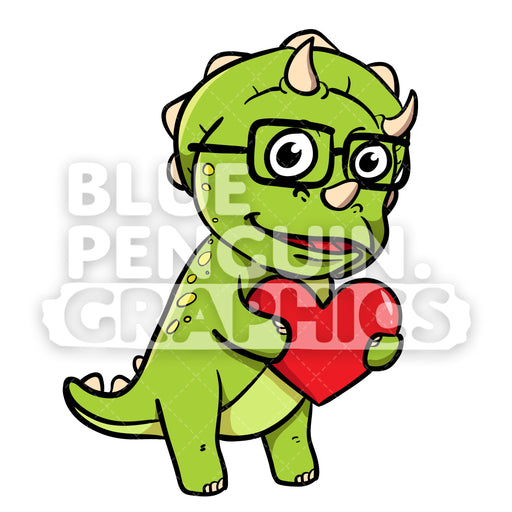 Cute Green Dino Bring a Red Heart Vector Cartoon Clipart - Blue Penguin Graphics