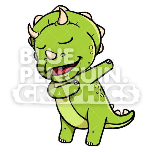 Cute Green Dino Dabbing Vector Cartoon Clipart Illustration