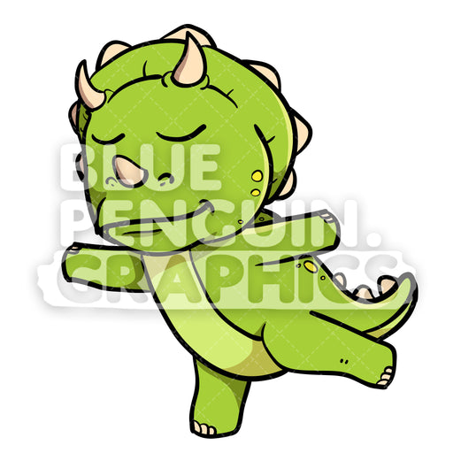 Cute Green Dino Doing Yoga Vector Cartoon Clipart