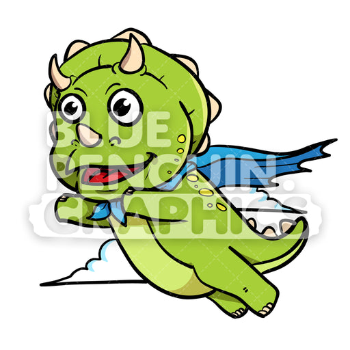Cute Green Dino Superhero Flying Vector Cartoon Clipart - Blue Penguin Graphics
