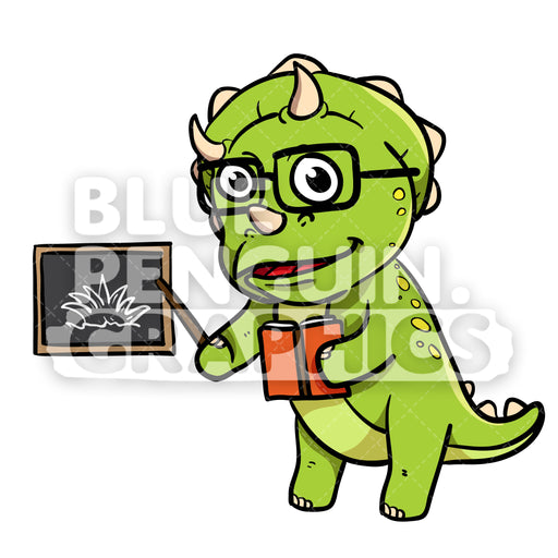 Cute Green Dino Teaching from a Book Vector Cartoon Clipart - Blue Penguin Graphics