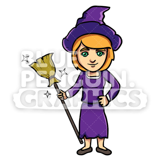 Cute Magician with a Magic Broom Vector Cartoon Clipart Illustration - Blue Penguin Graphics