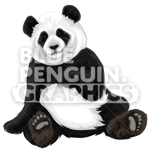 Cute Panda Version 4 Vector Clipart Illustration - Blue Penguin Graphics