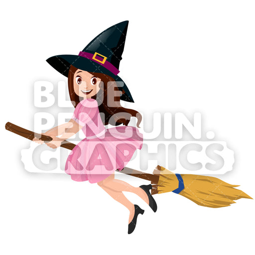 Cute Witch On Broom Vector Cartoon Clipart Illustration - Blue Penguin Graphics