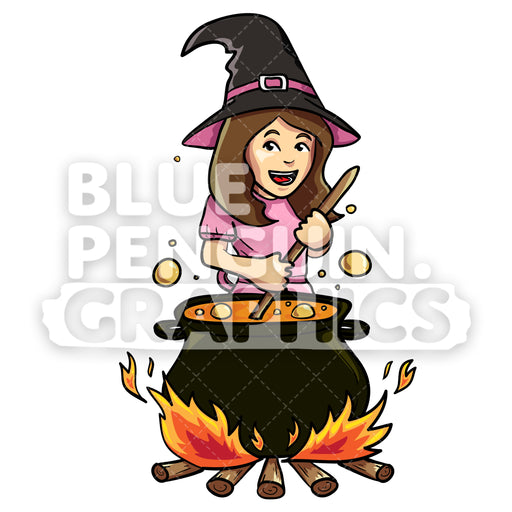 Cute Witch With Pot Vector Cartoon Clipart Illustration - Blue Penguin Graphics