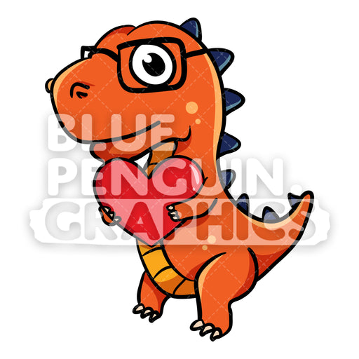 Dino bring Red Heart Vector Cartoon Clipart Illustration - Blue Penguin Graphics