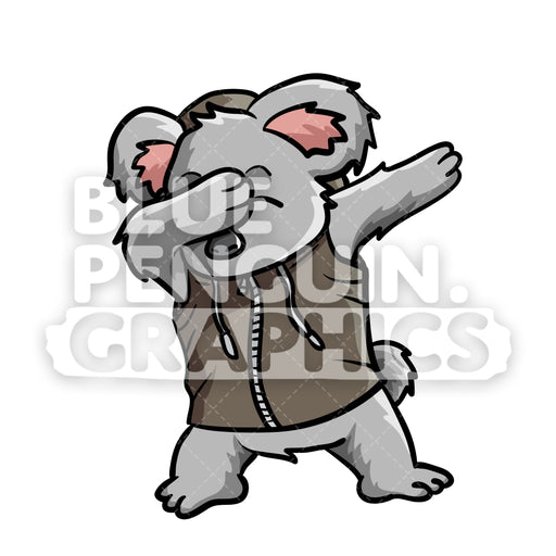 Dabbing Koala Vector Cartoon Clipart Illustration - Blue Penguin Graphics