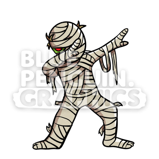 Dabbing Egyptian Mummy Vector Cartoon Clipart Illustration - Blue Penguin Graphics