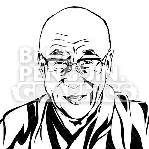 14th Dalai Lama Of Tibet Face Silhouette - Blue Penguin Graphics