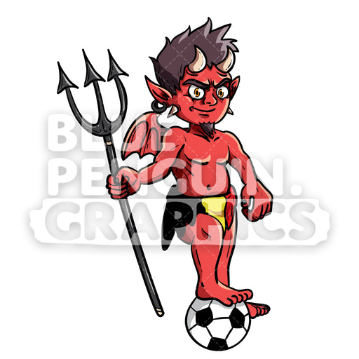 Devil Standing with Belgium Flag Vector Cartoon Clipart Illustration - Blue Penguin Graphics