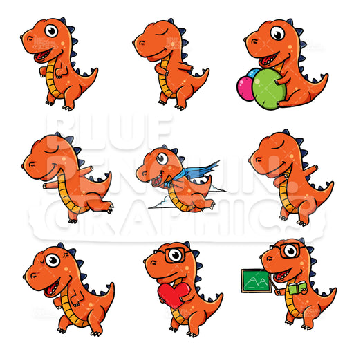 Dino Bundle Set Vector Cartoon Clipart - Blue Penguin Graphics