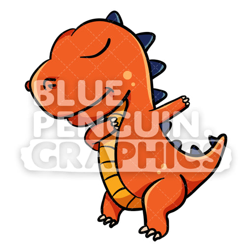 Dino Dabbing Vector Cartoon Clipart Illustration - Blue Penguin Graphics
