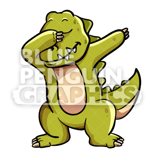 Dabbing Dinosaur Vector Cartoon Clipart Illustration - Blue Penguin Graphics
