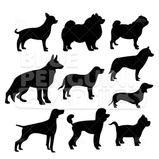 Dog Breed Silhouettes Bundle Set Vector Cartoon Clipart Illustration - Blue Penguin Graphics