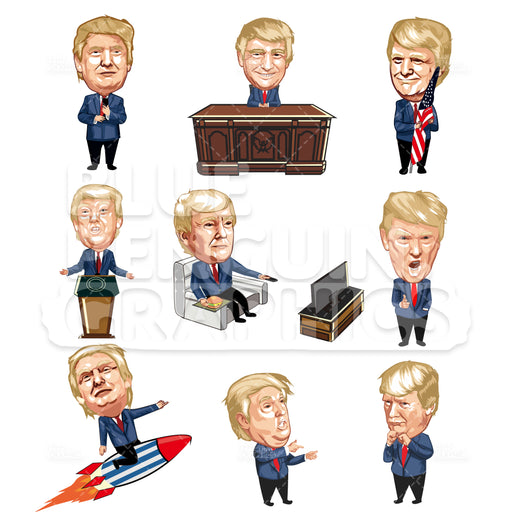 American President Donald Trump Bundle Set Vector Cartoon Clipart Illustration - Blue Penguin Graphics