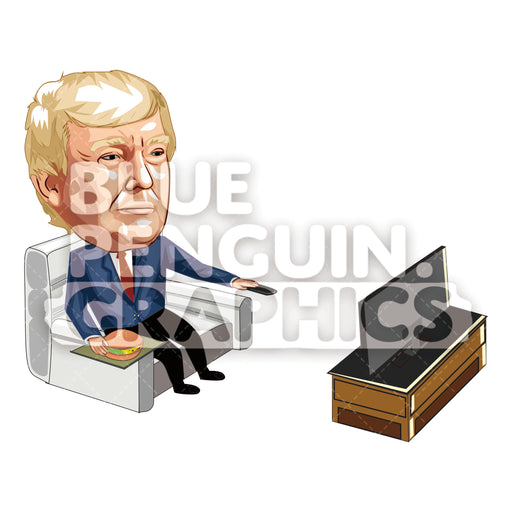 Donald Trump Watching TV and Eating Cheeseburger Vector Cartoon Clipart Illustration - Blue Penguin Graphics