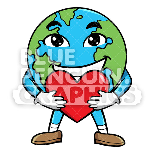 Earth Bringing a Red Heart Vector Cartoon Clipart Illustration - Blue Penguin Graphics