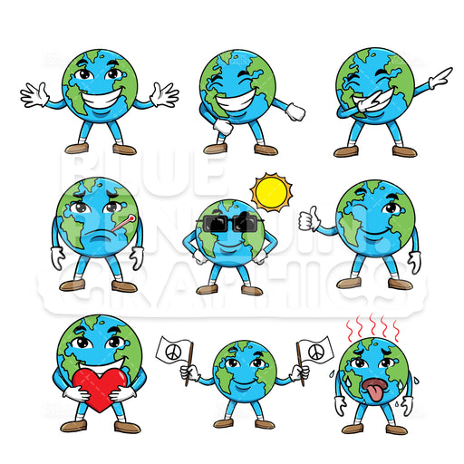 Earth Bundle Set Vector Cartoon Clipart Illustration - Blue Penguin Graphics