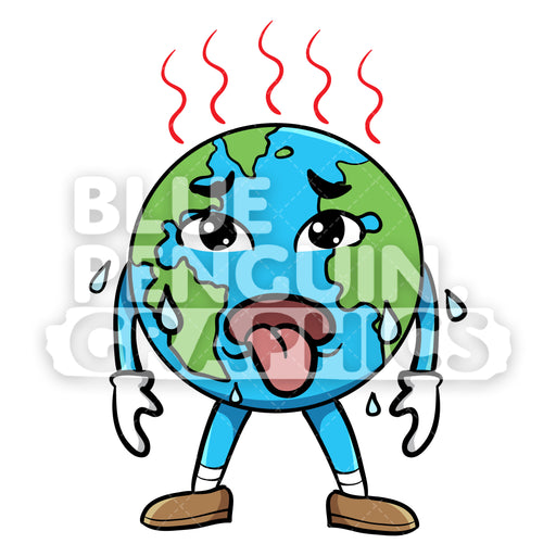 Earth Feeling so Hot Vector Cartoon Clipart Illustration - Blue Penguin Graphics