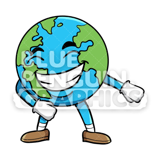 Earth Flossing Vector Cartoon Clipart Illustration - Blue Penguin Graphics