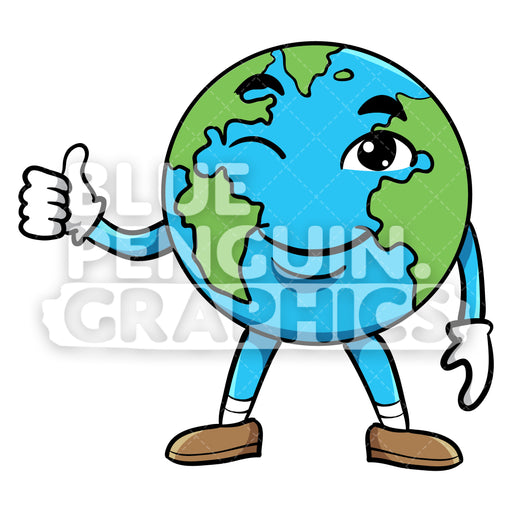 Earth Giving a Thumbs Up Vector Cartoon Clipart Illustration - Blue Penguin Graphics