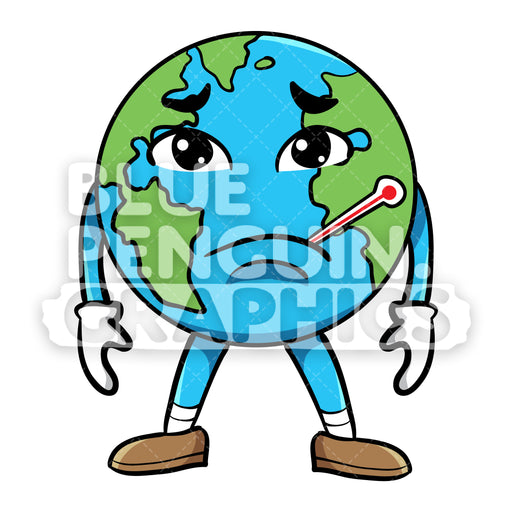Earth Sick with Sad Face Vector Cartoon Clipart Illustration - Blue Penguin Graphics