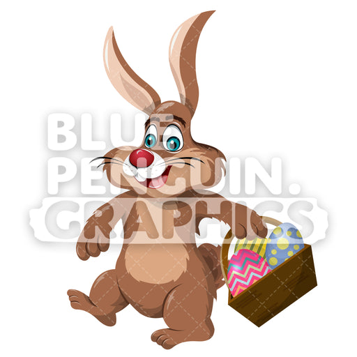 Easter Bunny With Eggs Vector Cartoon Clipart Illustration - Blue Penguin Graphics