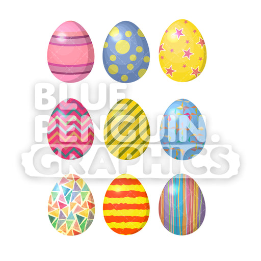 Easter Eggs - 9 Set Vector Cartoon Clipart Illustration - Blue Penguin Graphics