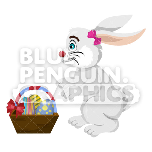 Easter Grey Rabbit With A Basket Of Colorful Eggs Vector Cartoon Clipart Illustration - Blue Penguin Graphics