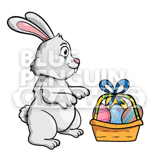 Easter Grey Rabbit With A Basket Of Eggs Vector Cartoon Clipart Illustration - Blue Penguin Graphics
