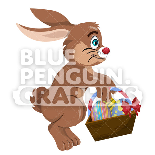 Easter Jumping Brown Rabbit With A Basket Of Eggs Vector Cartoon Clipart Illustration - Blue Penguin Graphics