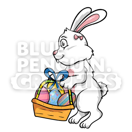 Easter Jumping White Rabbit With A Basket Of Eggs Vector Cartoon Clipart Illustration - Blue Penguin Graphics