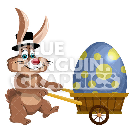 Easter Rabbit Egg On Wheels Vector Cartoon Clipart Illustration - Blue Penguin Graphics