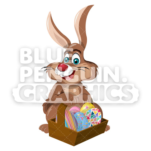 Easter Rabbit Eggs Basket Vector Cartoon Clipart Illustration - Blue Penguin Graphics